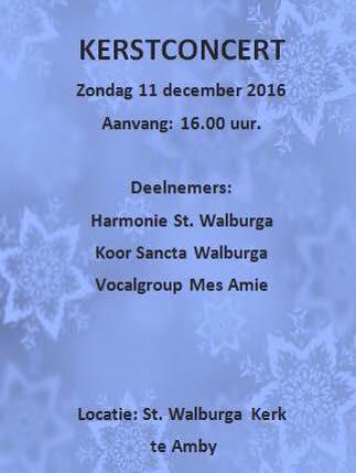 Kerstconcert op zondag 11 december om 16.00 uur
