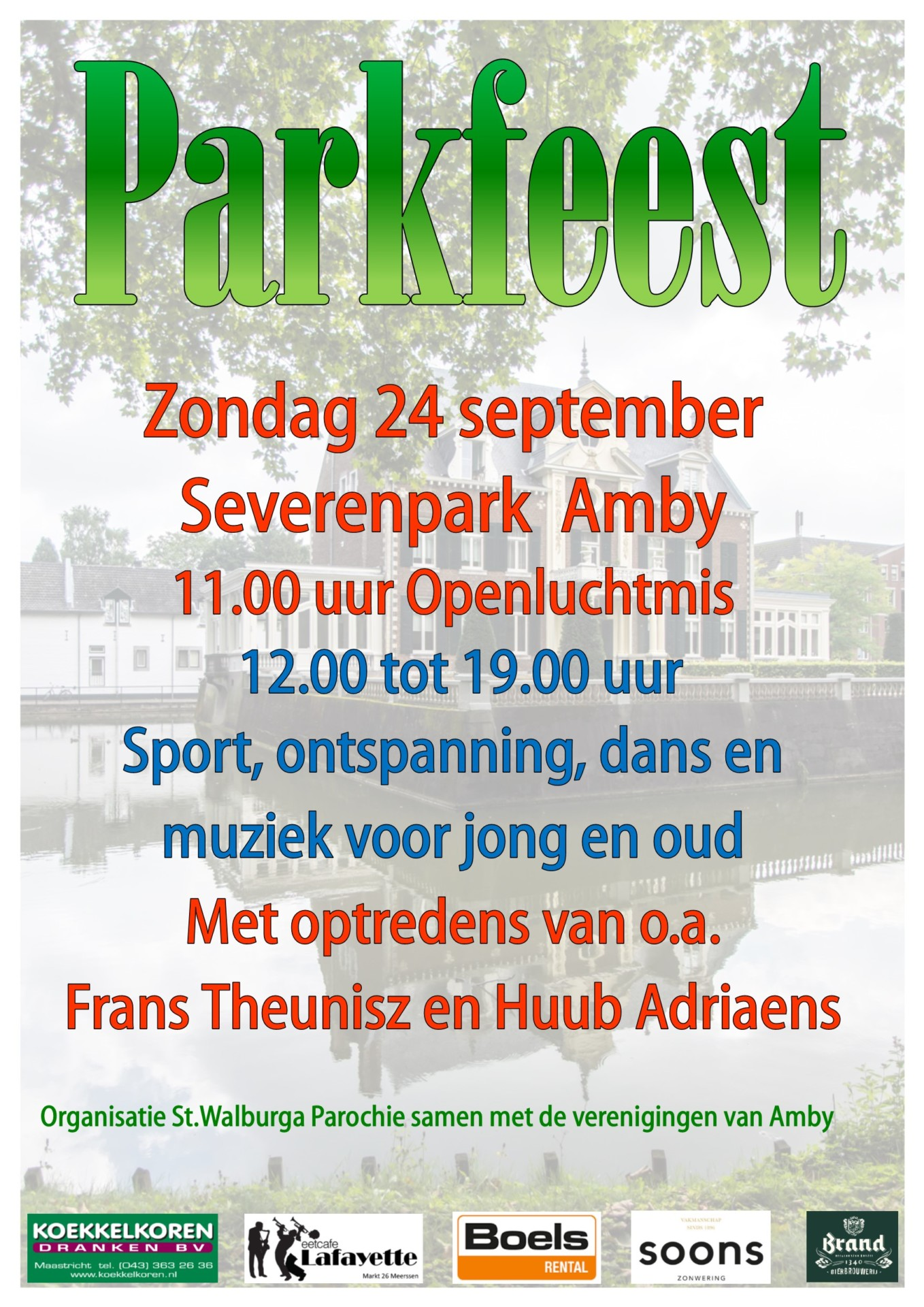 Parkfeest op zondag 24 september Severenpark 11:00 uur tot 19:00 uur